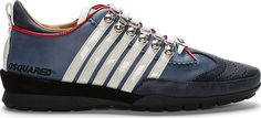 Dsquared2 Navy Leather Stripe Sport Sneakers $198.00 thestylecure.com