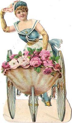 Oblaten Glanzbild scrap die cut chromo Dame lady femme Blumen wagen