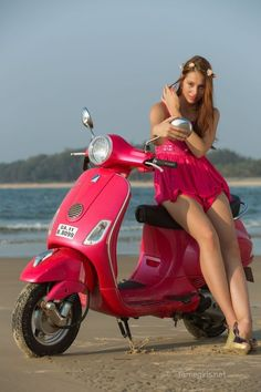 X (gorgeous model) in a sensual red lace mini dress on the scooter, sumptuous boobs and hot legs. Lambretta Scooter, Scooter Motorcycle, Vespa Scooters, Vespa Girl, Scooter Girl, Vespa Vintage, Motard Sexy, Italian Scooter, Chicks On Bikes