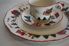Mason's Ironstone Christmas Village Dinner Plate Tea Cup and 7 inch Plate Set #Masons