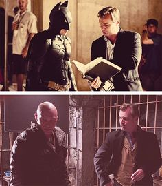 TDKR Christopher Nolan with Christian Bale and Tom Hardy.. This guy is God Damn BRILLIANT!