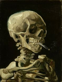 Head of a Skeleton with a Burning Cigarette by Vincent van Gogh (1886)