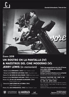 """Ciclo con el que el Cineclub Universitario / Aula de Cine de la #UGR rinde homenaje a Jerry Lewis, con algunos de los títulos más representativos de su trayectoria como realizador y actor: """"El Ceniciento"""", 1960, """"El terror de las chicas"""", 1961, """"Un espía en Hollywood"""", 1961, """"El profesor chiflado"""", 1963, """"Lío en los grandes almacenes"""", 1963, """"Caso clínico en la clínica"""", 1964 y """"Los comediantes"""", 1995. #CineClubUGR #JerryLewis #UnRostroEnPantalla #MaestrosCineModerno"""