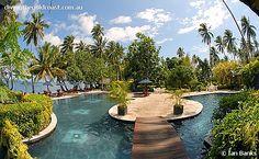 Beqa Lagoon Resort, Beqa Island Fiji!  Yes, Dan did fall off that little bridge!!