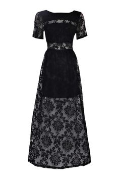 Boohoo Womens Boutique Arabella Open Back Lace Maxi Dress in Black size 4 -- Awesome products selected by Anna Churchill