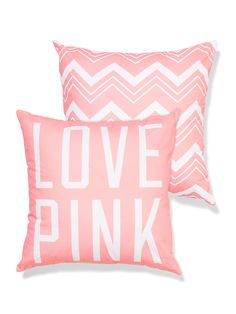 """VS PINK """"Love Pink"""" Throw Pillow in Ripe Apricot Chevron"""