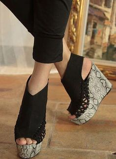 Fashion Wedges Python Inspired Wedge Shoes