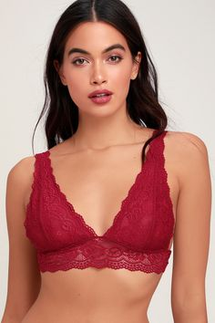 623af350c60ea The Lulus Whole Lotta Love Wine Red Lace Bralette will have you showing
