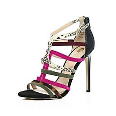 Black Suede Caged Heeled Sandals from River Island R1100,00