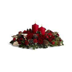 """""""Santa Claus"""" Centro de mesa propio para la temporada en colores tradicionales con velas. http://www.floreriacleo.com.mx/tiendaenlinea/index.php?id_product=426&controller=product"""