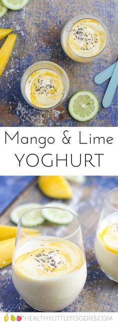 Mango and Lime Yogurt for kids. A great alternative to yogurts targeted to kids. No refined sugar, sweetened only with fruit. Yogurt Recipes, Healthy Dessert Recipes, Baby Food Recipes, Healthy Snacks, Kid Snacks, Healthy Kids, Lunch Recipes, Free Recipes, Healthy Eating