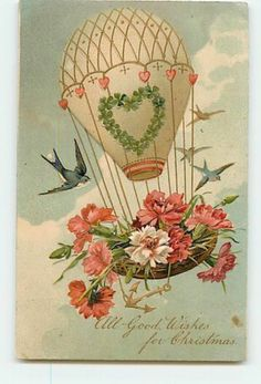 14946 Christmas Hot Air Balloon Carrying Birds Nest of Flowers Floral c1908 Embo | eBay