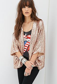 07139ca26a Sequined Open-Front Jacket | FOREVER21 - Sequin Cardigan, Gold Sequin  Jacket, Sequin