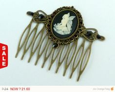 Sale - 10 % Cameo hair comb with fairy in black bronze Fantasy Hair Girls gift idea - pinned by pin4etsy.com