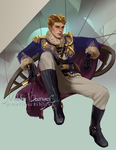Nikolai Lantsov Been meaning to do this cute guy for a while, nikolai lantsov from original Grisha Trilogy, a quick cameo in six of crows and upcoming King of Scars novel// edit : yes this is exACtly how nicolai would sit ! Book Characters, Fantasy Characters, Fanart, Character Concept, Character Art, Game Concept, Character Portraits, Character Ideas, Concept Art