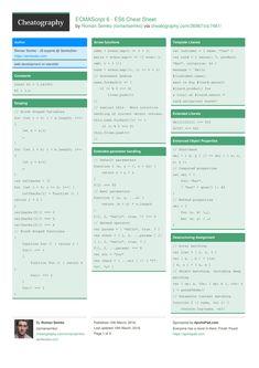 ECMAScript 6 - ES6 Cheat Sheet by romansemko http://www.cheatography.com/romansemko/cheat-sheets/ecmascript-6-es6/ #cheatsheet #es6 #javscript #babel