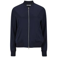 T by Alexander Wang Women's Stretch Silk Twill Bomber Jacket - Ink (€545) ❤ liked on Polyvore featuring outerwear, jackets, blue, t by alexander wang jacket, lightweight jackets, blue jackets, light weight jacket and flight bomber jacket