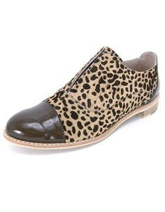 All Black Ponyman Oxford Flat in leopard - Women's Shoes