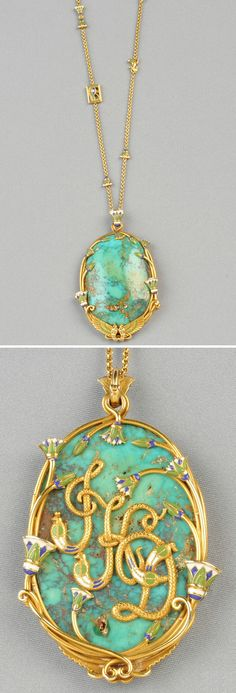 "Egyptian Revival 18kt Gold, Turquoise, and Enamel Pendant Necklace, Marcus & Co., the pendant set with a large turquoise cabochon within a gold frame with blue, white, and green enamel accents, reversing to gold coiled snake motifs spelling the initials ""J H D,"" completed by a gold chain decorated at intervals with Egyptian motifs, pendant lg. 3, chain lg. 18 in., signed."
