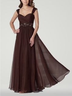 Youthful Fancy Long Brown Mother of the Bride Dress