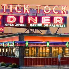 Make it a diner tonight? All-Night Eats: Best Diners from Coast to Coast-Tick Tock Diner, Clifton, NJ Vintage Diner, Retro Diner, Jersey Girl, New Jersey, Diner Recipes, Diner Food, Diner Sign, Vintage Neon Signs, Eating At Night
