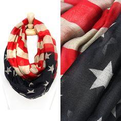 Beautiful Oversized American Flag infinity scarf American Flag by RYLOwear