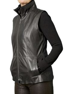 Womens Luxury Soft Black Leather Gilet with high collar. Made in light soft lambskin nappa - perfect to wear any time of year.