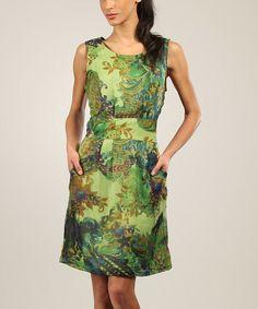 Green Floral Sleeveless Dress | zulily