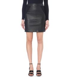 REISS Clarisse panelled leather skirt