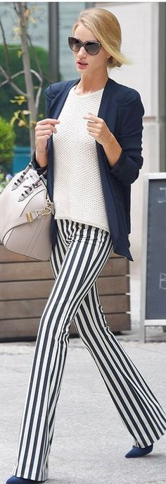 Rosie Huntington Whiteleys gray snake print handbag, cat sunglasses, blue pumps, white sweater, vertical striped trousers - make her legs look a mile long. Looks Chic, Looks Style, My Style, Rosie Huntington Whiteley, Street Chic, Street Style, Cat Sunglasses, Givenchy Sunglasses, Star Fashion