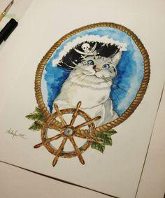 Cat pirate tattoo design by @ankafaink