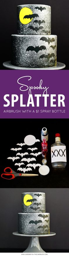 Spooky Splatter Halloween Cake - how to airbrush with a $1 spray bottle  |  Erin Gardner for TheCakeBlog.com