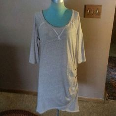 """Free People Tunic Tan cotton long tunic with scoop neck line has gathering on one side white trim around it 3/4 sleeves is 38""""long cute with boots Free People Tops Tunics"""