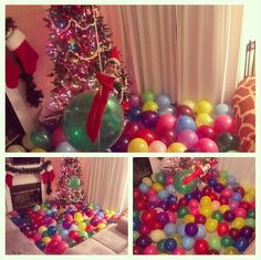 Elf on the shelf made the family room a balloon pit it for Elf on the shelf balloon ride