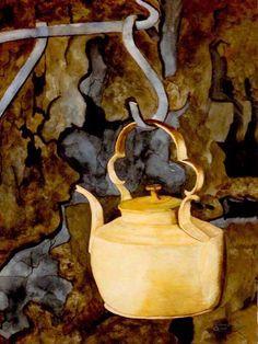 Watercolor Print-Giclee Tea Pot Gift by on Etsy Tea Cup Saucer, Tea Cups, Silver Tea Set, Clark Art, My Cup Of Tea, New Artists, Watercolor Print, Kettle, Tea Party