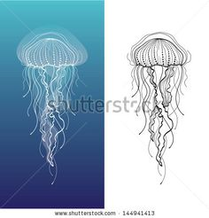 Abstract graphic illustration of jellyfish in vector - stock vector