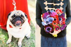 wedding bouquet, red dress and dog, Austin wedding, floral design by Kari Shelton http://www.theflowergirltx.com/