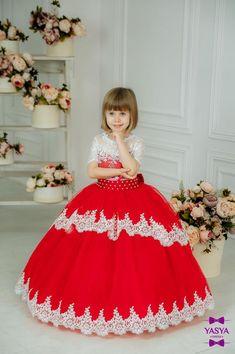 3e8379b5fa7f6 Red flower girl Dress Wedding Party Dress for girl Luxury Childrens ...