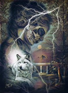 Fantasy Wolf, Fantasy Art, Female Grim Reaper, Wolves And Women, Lovecraftian Horror, Wolf Stuff, Fantasy Pictures, Big Bad Wolf, My Animal