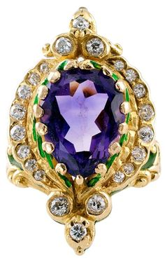 Marcus and Co. Art Nouveau Ring in Colors suggestive of the Suffragette Movement - Amethyst, Diamond and Green Enamel -1905