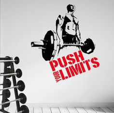 Push your Limits. Workout Training Pro. Quality Wall Art Decal Sticker.