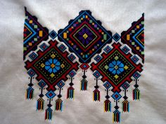 Embroidery Neck Designs, Embroidery Stitches Tutorial, Hand Work Embroidery, Embroidery Flowers Pattern, Crewel Embroidery, Cross Stitch Embroidery, Cross Stitch Geometric, Cross Stitch Art, Cross Stitching