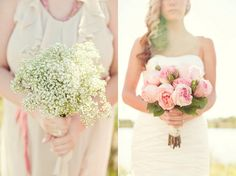 Baby's breath bouquet and cabbage roses » Ashley Biess Photography