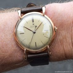 "secondtimearoundwatchco: ""On my wrist: A 1946 Vintage Rolex Precision Reference 4488 with a fantastic, Rose Gold & Stainless Steel case. Rolex Watches For Men, Fine Watches, Luxury Watches, Cool Watches, Vintage Rolex, Vintage Watches, Fashion For Men Over 50, Skeleton Watches, Fashion Bracelets"