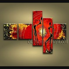 Large Modern Abstract Painting Hand-Painted Art Paintings For Living Room Figure. This 5 panels canvas wall art is hand painted by Bo Yi Art Studio, instock - $165. To see more, visit OilPaintingShops.com