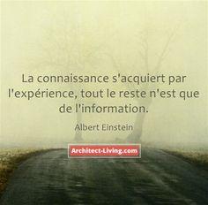 """"""" La connaissance s'acquiert par l'expérience, tout le reste n'est que de l'information """" Albert Einstein"""
