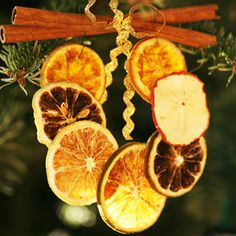 Dried oranges made into Victorian christmas tree decorations