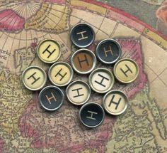 Letter H - vintage typewriter keys.