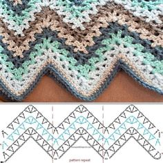 Lacy V-Stitch Ripple, free pattern both written & diagram, from Kara of Petals to Picots. by Melissa Ann Chevron Crochet Blanket Pattern Baby, Granny Square Crochet Pattern, Crochet Pillow, Crochet Diagram, Crochet Stitches, Crochet Gratis, Free Crochet, Stitch Patterns, Crochet Patterns