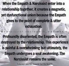 BEWARE THE EMPATH TRAP! 25 Common Misconceptions of a Narcissist. Empaths can be the greatest threat to a Narcissist, sadly, they are also the best prey upon. Wait for the Spiritual Awakening Narcissistic People, Narcissistic Behavior, Narcissistic Sociopath, Narcissist And Empath, Can A Narcissist Change, Narcissistic Husband, Narcissist Quotes, Narcissist Discard, This Is Your Life